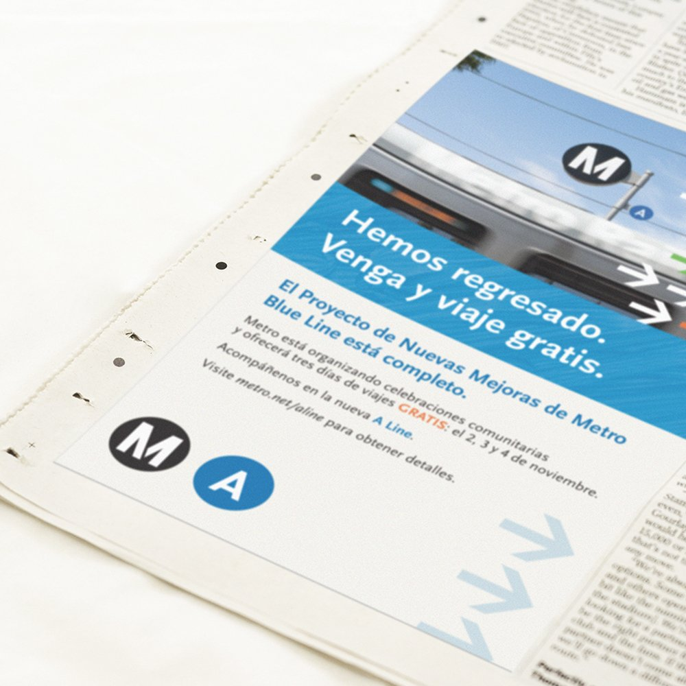 Metro A Line Reopening: Newspaper Ads